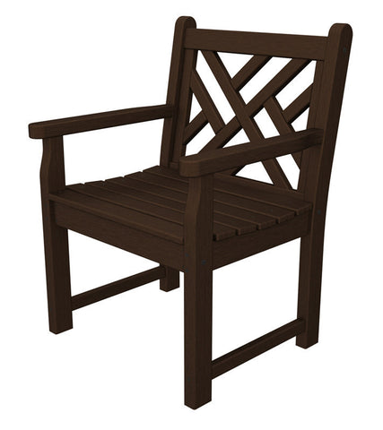 Polywood CDB24MA Chippendale Garden Arm Chair in Mahogany - PolyFurnitureStore