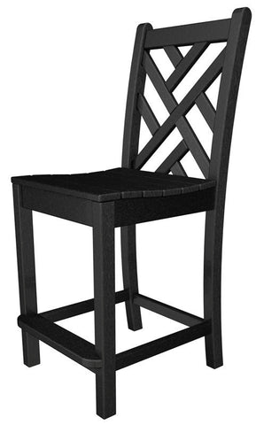 Polywood CDD101BL Chippendale Counter Side Chair in Black - PolyFurnitureStore