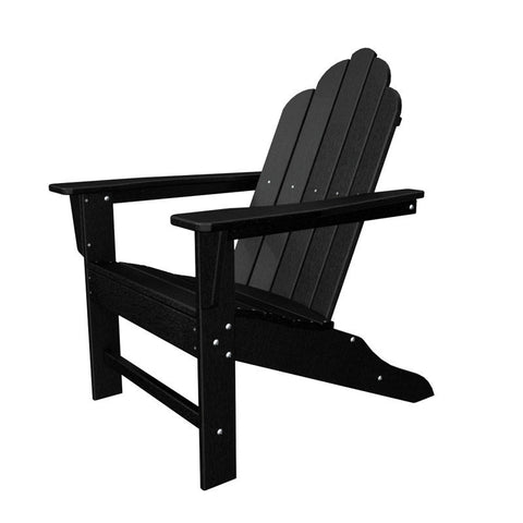 Polywood ECA15BL Long Island Adirondack in Black - PolyFurnitureStore