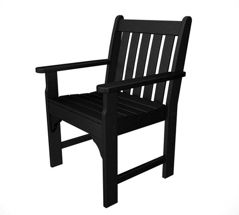 Polywood GNB24BL Vineyard Garden Arm Chair in Black - PolyFurnitureStore