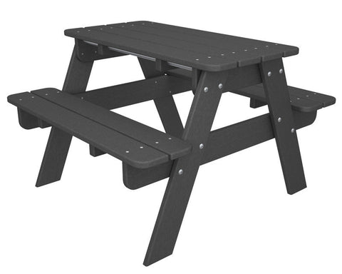 Polywood KT130GY Kids Picnic Table in Slate Grey - PolyFurnitureStore