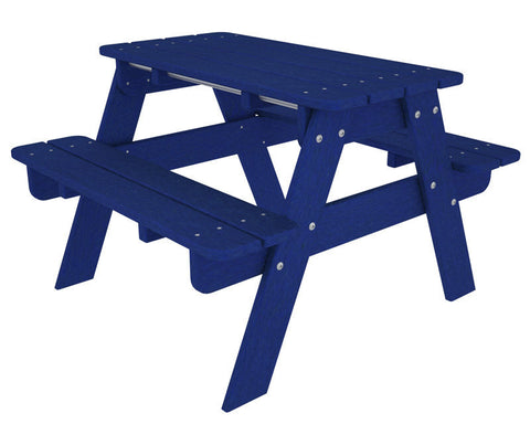 Polywood KT130PB Kids Picnic Table in Pacific Blue - PolyFurnitureStore