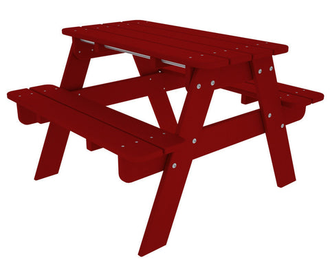 Polywood KT130SR Kids Picnic Table in Sunset Red - PolyFurnitureStore