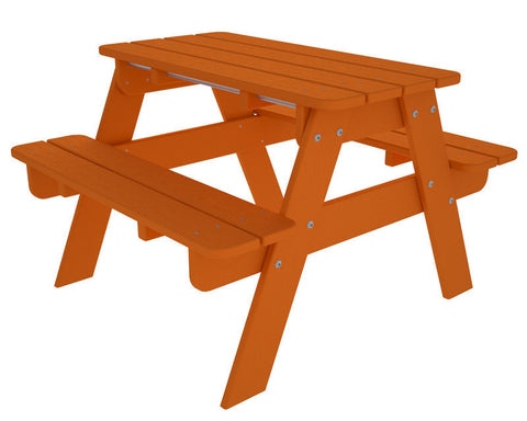 Polywood KT130TA Kids Picnic Table in Tangerine - PolyFurnitureStore