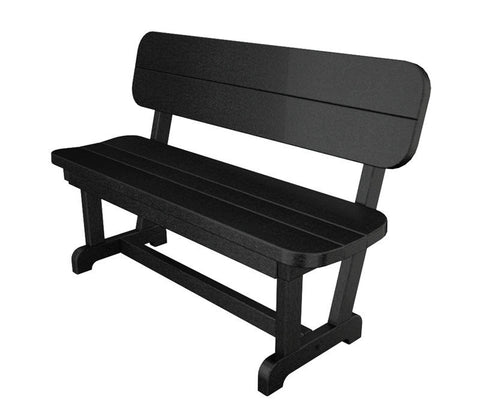 "Polywood PB48BL Park 48"" Bench in Black - PolyFurnitureStore"