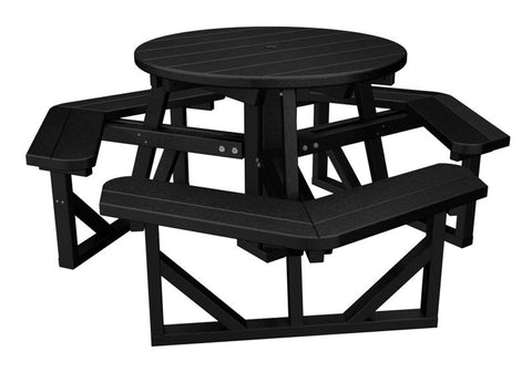 "Polywood PH36BL Park 36"" Round Picnic Table in Black - PolyFurnitureStore"