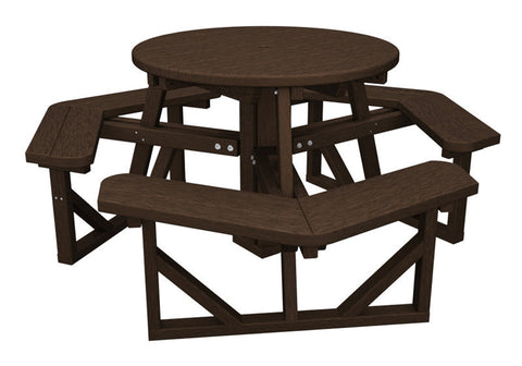 "Polywood PH36MA Park 36"" Round Picnic Table in Mahogany - PolyFurnitureStore"