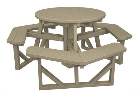 "Polywood PH36SA Park 36"" Round Picnic Table in Sand - PolyFurnitureStore"