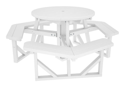 "Polywood PH36WH Park 36"" Round Picnic Table in White - PolyFurnitureStore"