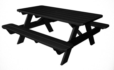 "Polywood PT172BL Park 72"" Picnic Table in Black - PolyFurnitureStore"