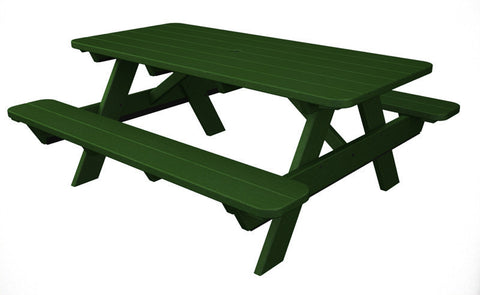 "Polywood PT172GR Park 72"" Picnic Table in Green - PolyFurnitureStore"
