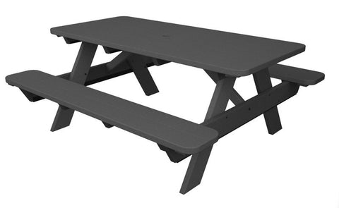 "Polywood PT172GY Park 72"" Picnic Table in Slate Grey - PolyFurnitureStore"
