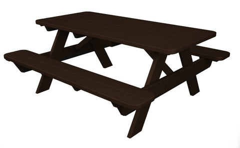 "Polywood PT172MA Park 72"" Picnic Table in Mahogany - PolyFurnitureStore"