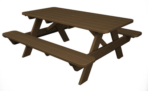 "Polywood PT172TE Park 72"" Picnic Table in Teak - PolyFurnitureStore"