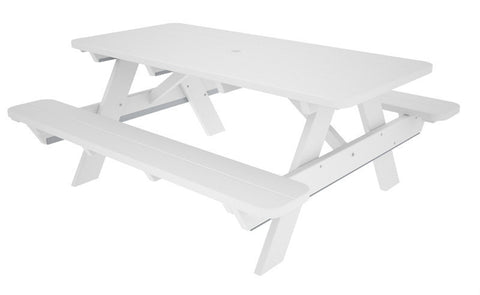 "Polywood PT172WH Park 72"" Picnic Table in White - PolyFurnitureStore"