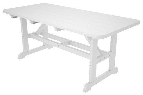 "Polywood PT3672WH Park 36"" x 72"" Harvester Picnic Table in White - PolyFurnitureStore"