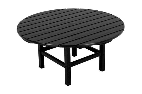"Polywood RCT38BL Round 38"" Conversation Table in Black - PolyFurnitureStore"