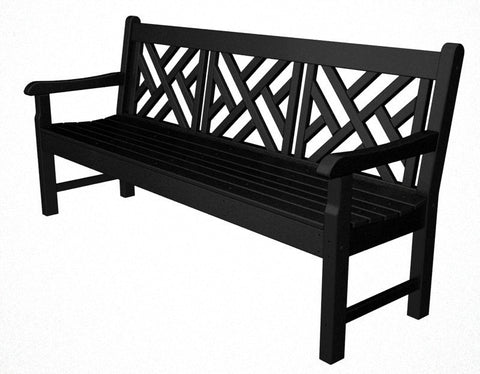 "Polywood RKCB72BL Rockford 72"" Chippendale Bench in Black - PolyFurnitureStore"