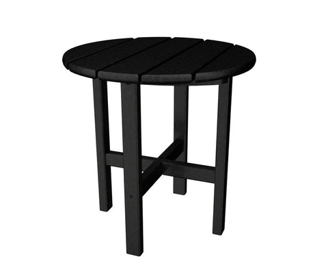 "Polywood RST18BL Round 18"" Side Table in Black - PolyFurnitureStore"