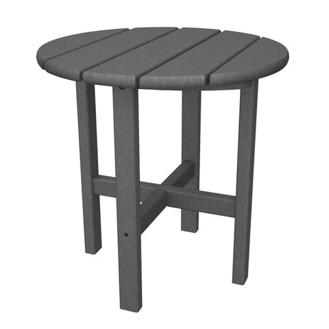 "Polywood RST18GY Round 18"" Side Table in Slate Grey - PolyFurnitureStore"