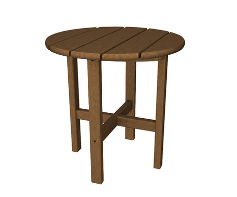 "Polywood RST18TE Round 18"" Side Table in Teak - PolyFurnitureStore"