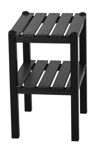 Polywood TWSTBL Two Shelf Side Table in Black - PolyFurnitureStore