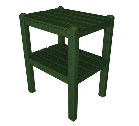 Polywood TWSTGR Two Shelf Side Table in Green - PolyFurnitureStore