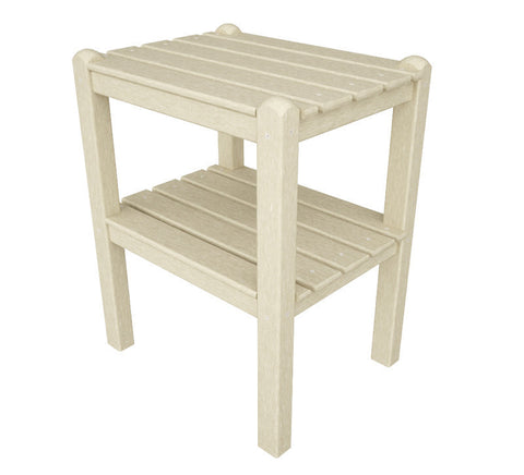 Polywood TWSTSA Two Shelf Side Table in Sand - PolyFurnitureStore