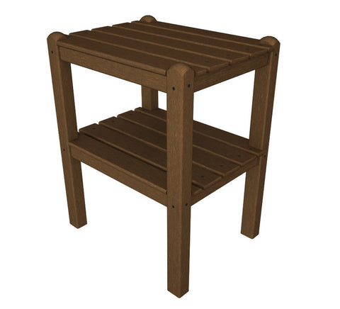Polywood TWSTTE Two Shelf Side Table in Teak - PolyFurnitureStore