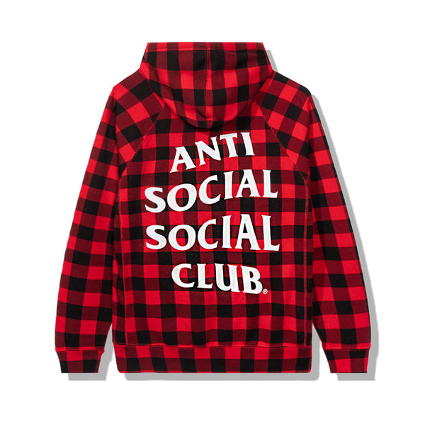 Crossed Out Red Checkered Hoodie