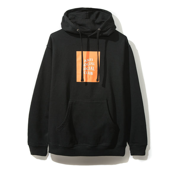 Neon Orange Box Logo Black Hoodie
