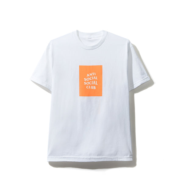 Neon Orange Box Logo White Tee