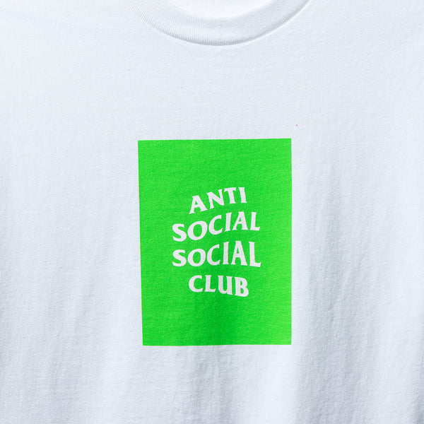 Neon Green Box Logo White Tee
