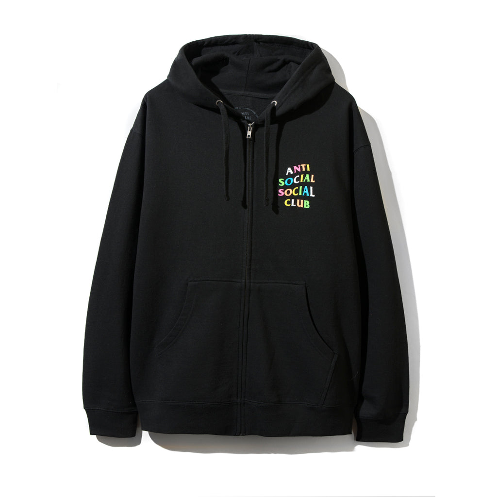 Rainbow Black Zip Up Hoodie