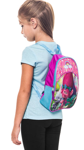 Side view of the 11-inch Trolls movie Mini Backpack for girls