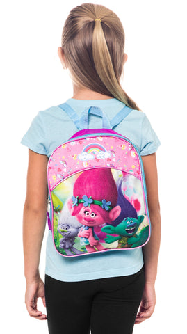 Back view of the Trolls 11-inch mini backpack for girls