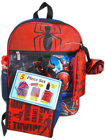 Spiderman 5 piece backpack set