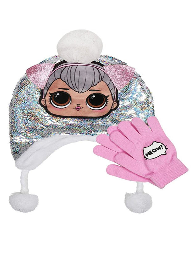 Girls LOL Surprise! Silver Sequin Knit Beanie Hat Gloves Sherpa Kitty 2-Piece