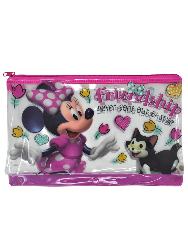 Girls Minnie Mouse Large Zipper PVC Pencil Pouch 3-Ring Holder Friendship Pink