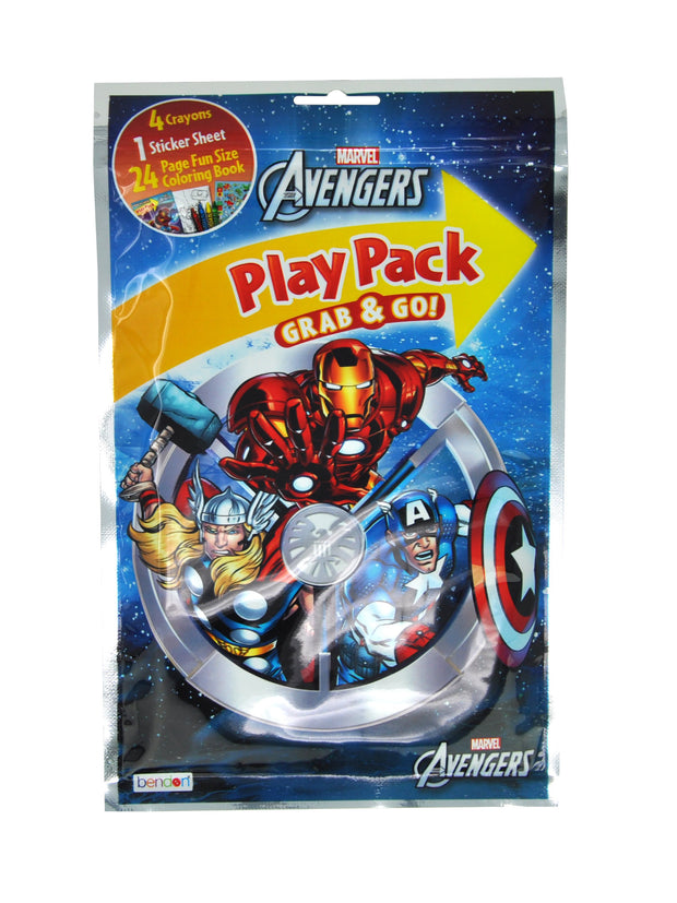 "Marvel Avengers Grab-n-Go Play Pack & 10"" Tote Bag 2-Piece Favor Set"