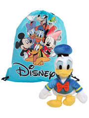 "Donald Duck 11"" Toy Plush Doll w/ Disney Mickey & Friends 15"" Tote Sling Bag"