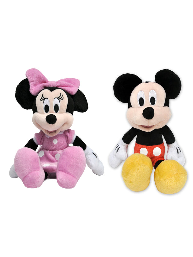 "Disney 11"" Mickey and Minnie Mouse Stuffed Plush Dolls Toys 2-Piece Set"