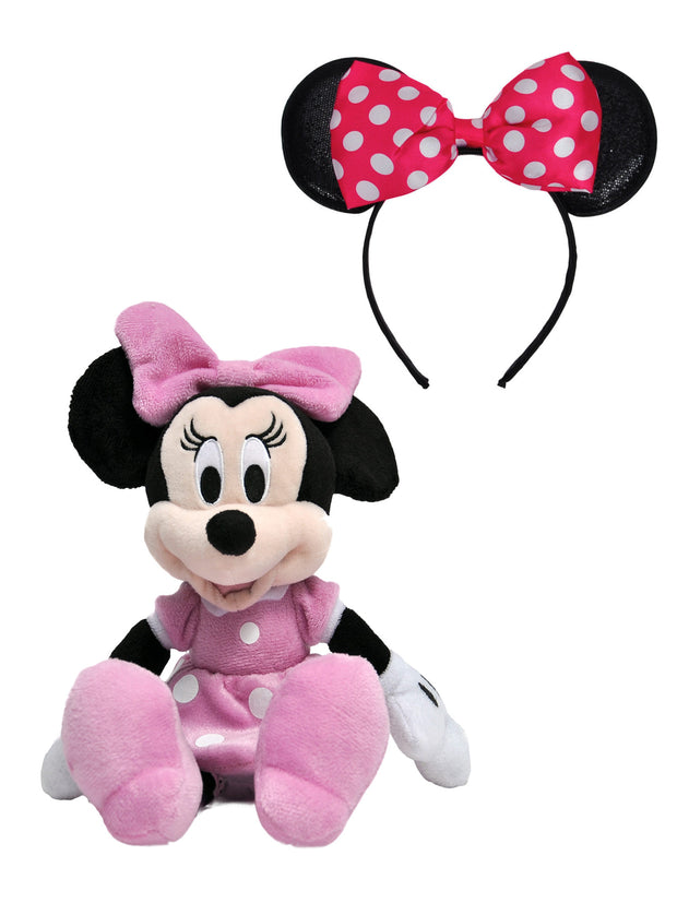 "Minnie Mouse Plush Doll Pink 11"" and Girls Pink Minnie Mouse Ears Headband Set"