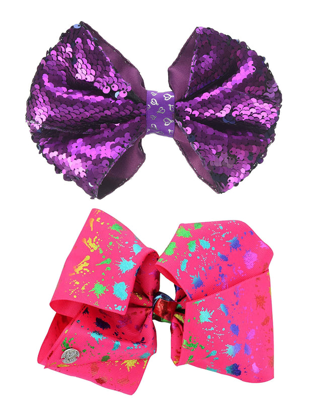 Girls JoJo Siwa Reversible Sequins Bow Ponytail & Pink Splatter Bow 2 Piece Set
