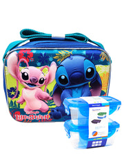 Disney 3D Molded Stitch Insulated Lunch bag w/ Strap & 2-Pc Snack Container Set