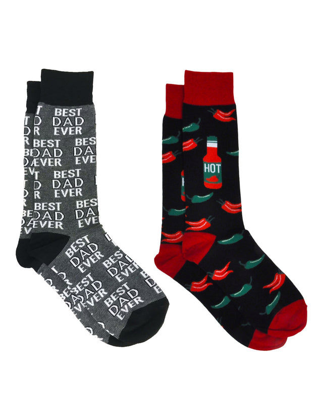 Men's Best Dad Ever Socks Grey and Hot Sauce & Chili Peppers Food Socks Red