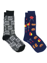 Men's Best Dad Ever Socks Grey and BBQ Grill Hot Dogs Hamburger Socks Navy