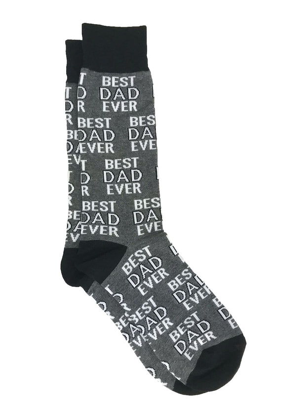 Men's Best Dad Ever Socks Grey and Breakfast Socks All-Over Eggs Bacon Coffee