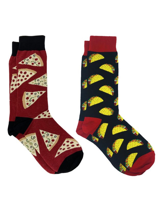 Men's Novelty Socks Pepperoni Cheese Pizza & All-Over Taco Print Food 2-Pair Set