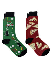 Men's Novelty Socks Pizza Pepperoni & Sports Golf Cart Clubs Gift Set